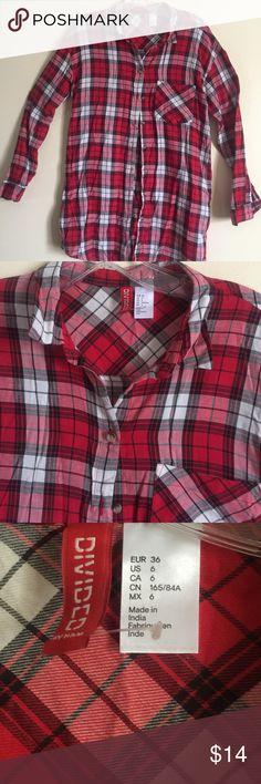 H&M Plaid Shirt Dress with one side Pocket Red/Black Plaid Shirt H&M Other