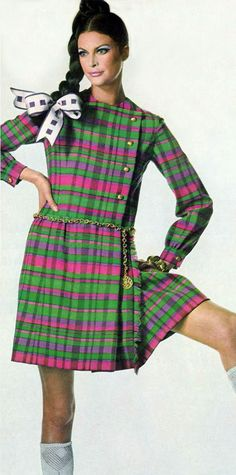 Vintage fashion, pink and green plaid dress 1967
