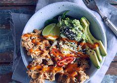 National Breakfast Week recipe: Harissa Waffles with Guacamole, Chia Seeds, Honey and Harissa Dressing