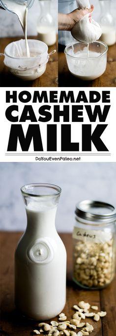 Make your own cashew milk! It's great as coffee creamer, hot chocolate, or just drinking straight. Paleo, vegan, gluten free. | DoYouEvenPaleo.net
