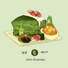 Matcha Cake, an art print by Nadia Kim Cute Food Art, Cute Art, Kawaii Drawings, Cute Drawings, Dessert Animals, Dessert Illustration, Chibi Food, Food Doodles, Food Sketch