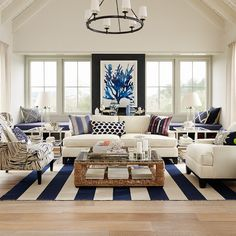 Blue White Coastal Living Room Beach House Decor Home