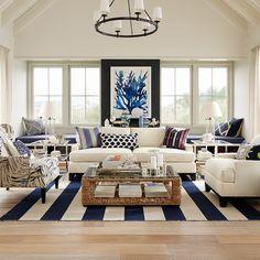 blue + white coastal living room