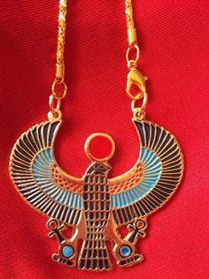 Brass-Hand-Colored-Ancient-Egyptian-Horus-Hawk-Vulture-Eagle-Pendant-Necklace
