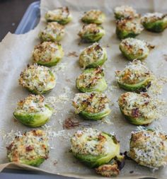 Garlic and Herb Stuffed Brussels Sprouts: This recipe came to me in a dream. I woke up salivating, craving creamy and crunchy stuffed Brussels sprouts. Side Dish Recipes, Vegetable Recipes, Vegetarian Recipes, Cooking Recipes, Healthy Recipes, Side Dishes, Vegetable Dishes, I Love Food, Appetizer Recipes