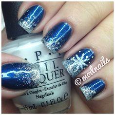 Pinning this just coz it's so pretty!   #CreativeNailART #Snowflakes