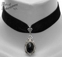 Baroness Midnight Velvet Pendant choker by Art of Adornment