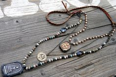 Braided leather mixed Metals Yoga Jewelry Triple by DeetabyDesign