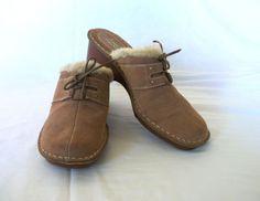 Comfort by Karen Scott 10M Mules Brown Suede Leather Stitching Med Heel 2.5 in #ComfortbyKarenScott #Mules
