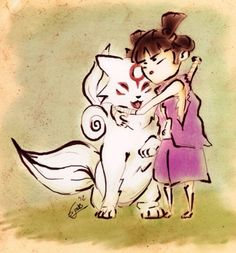 """Something VERY light-hearted for once I drew this piece as part of the competition """"What if games had a hug button?"""" over at [link] The competition conc. Hugs please Playstation 2, Amaterasu Omikami, Wolf Photos, Cutest Thing Ever, Fighting Games, Kokoro, Sci Fi Art, Best Games, Werewolf"""