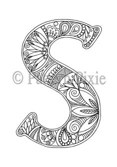 Adult Colouring Page Alphabet Letter S por PatternPixie en Etsy