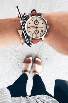 It's not an arm party without the Original boyfriend watch and layers of rose gold and silver bracelets. via @gracefuls