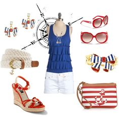 A fashion look from April 2012 featuring viscose tops, button fly shorts and wedge heel espadrilles. Browse and shop related looks. Cruise Dress, Cruise Outfits, Cruise Wear, Vacation Outfits, Summer Outfits, Cruise Attire, Cruise Clothes, Disney Clothes, Disney Fantasy Cruise