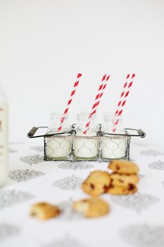 mini chocolate chip cookies + mini milk bottles = adorable!