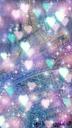 Eiffel Tower heart bokeh galaxy wallpaper I created for the app CocoPPa