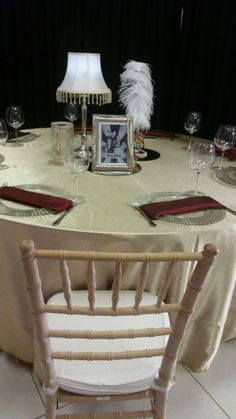 Table decor & Natural wood tiffany chair - SA Wedding Decor