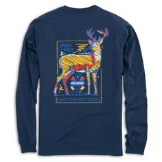 Southern Tide Know Your Prey Deer Long Sleeve T-Shirt in Heathered Blue