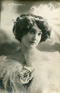 Vintage French hand tinted photo postcard - Actress miss Myavvatha with pearls in hair