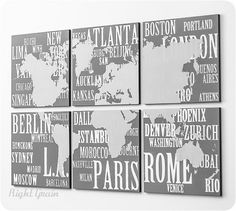 World Map with Major Cities Large Wall Art  Subway by RightGrain, $165.00