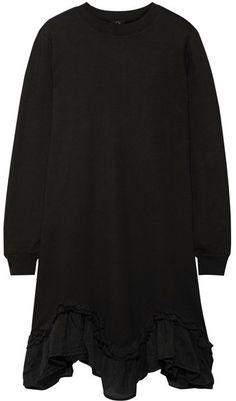 CLU - Silk-trimmed Cotton-jersey Dress - Black
