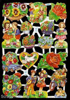 German Victorian Style Embossed Scrap Die Cut - Colorful Flowers & Doves  EF7002