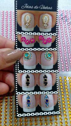 Cute Nails, Pretty Nails, Nail Jewels, Rhinestone Art, Gem Nails, Nail Art Diy, Nail Stickers, Nail Arts, Nail Tech