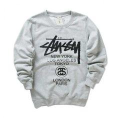 Stussy World Tour Crewneck Sweatshirt Gray! http://streetwearvilla.com/stussy-world-tour-crewneck-sweatshirt-gray #stussy #fashion #streetwearvilla