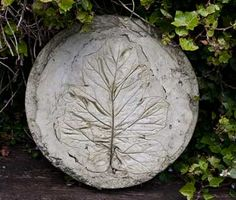 Stepping Stone Ideas | Recipe for Fossil-like Stepping Stones – with photographs of work.
