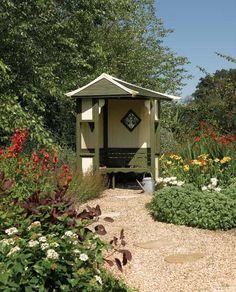 Wooden Garden Haven Corner Arbour Seat Garden Arbour Seat, Arbor Bench, Garden Seating, Outdoor Seating, Garden Arbours, Outdoor Spaces, Garden Buildings, Garden Structures, Outdoor Structures