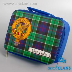 Leslie Clan Crest and Tartan Lunchbag. Free worldwide shipping available