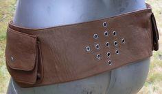 Leather Pocket Belt w/grommet design in MEDIUM  BROWN  by dwanjabi, $58.00
