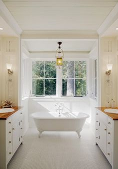 This bathroom has a great balance in the design. it's simple design lends to its beauty.