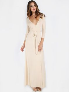 Online shopping for V-Neck Wrap Maxi Dress NUDE from a great selection of women's fashion clothing & more at MakeMeChic.COM.