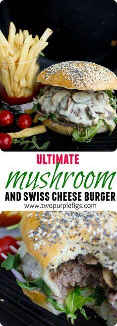 Mushroom Swiss Burger - that's a juicy beef patty topped with sauteed cremini mu. - Mushroom Swiss Burger – that's a juicy beef patty topped with sauteed cremini mushrooms and a l - Bun Burger, Burger Bar, Gourmet Burgers, Good Burger, Cheese Burger, Beef Burgers, Veggie Burgers, Fast Food Burger Recipe, Diner Burger Recipe