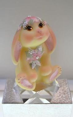 Signed By Artist Hand Painted Roses Blue Satin Fenton Bunny Figurine