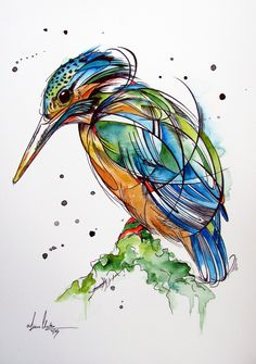 A shy little kingfisher in vibrant blues, greens and yellows and finished off with some decorative ink work to add depth and texture. Although quite simplistic, I have tried to capture this beautiful birds nature. Animal Sketches, Art Sketches, Line Art, Scribble Art, Bird Sketch, Watercolor Paintings For Beginners, Sketchbook Inspiration, Bird Drawings, Watercolor Bird