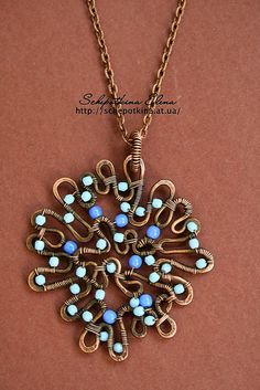 wire and bead pendant