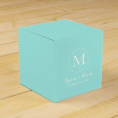 Customized Tiffany Blue Coloured Monogram Favor Packing containers.  Find out more by clicking the image