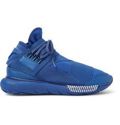 Y-3 Qasa Leather-Trimmed Neoprene High-Top Sneakers | MR PORTER