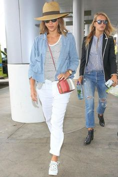 Jessica Alba wearing Bvlgari Automatic Watch with 18kt Yellow Gold Case, Tory Burch Stripe Mini Frame Clutch in Cherry Wood, the Great Swingy Army Jacket in Carolina, the Great Pre-Fall 2015 Pants, the Great Swing Tank in Mini Stripe and Janessa Leon Gloria Straw Hat