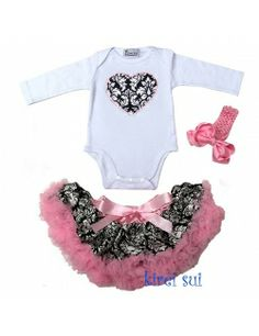 Valentines Day :: Infant Damask Valentine's Day 3 Piece Outfit Long Sleeve - Born Fabulous Boutique