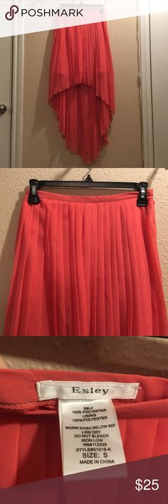 Esley Coral Pleated High Low Chiffon Skirt Early coral colored, high low style pleated skirt. Esley Skirts High Low