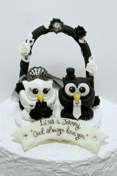 Owl+love+bird+custom+wedding+cake+topper+black+and+by+PerlillaPets