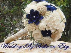 Fall Bouquets, Burlap Lace, Navy Blue Sola Bouquet, Blue Bouquet, Wedding Flowers, Rustic Shabby Chic, Bridal Accessories, Keepsake Bouquet by WeddingsByBillie on Etsy https://www.etsy.com/listing/245452687/fall-bouquets-burlap-lace-navy-blue-sola