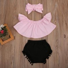 Newborn Baby Girl Clothes Set Off Shoulder Top T-Shirt+ Tassel Triangle shorts +Headband 3PCS Outfit Sun-suit Clothing #babysunsuit