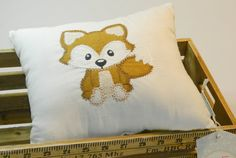 Cute Fox Embroidered and Appliqued Cushion by LemonyStitchit