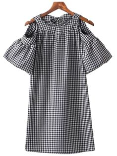 'Kimberly' Plaid Cut Out Shoulder Ruffle Dress Spring2017 New Arrivals www.goodnightmacaroon.co