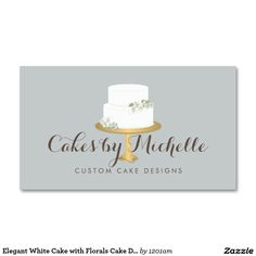 8 best business cards for cake decorating and bakery images on elegant white cake with florals cake decorating business card reheart Choice Image