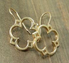 quatrefoil earrings Jewel Box, Gold Jewelry, Dangle Earrings, Filigree Earrings, Tiffany Jewelry, Etsy Jewelry, Phi Mu, Jewelry Design, Jewelry Accessories