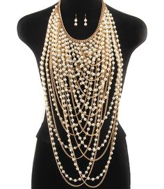 PWB7107 - Oversized bib pearls and chain necklace set